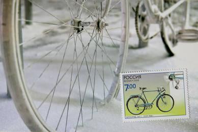 Комплект «Зимний велосипед» (открытка+марка)