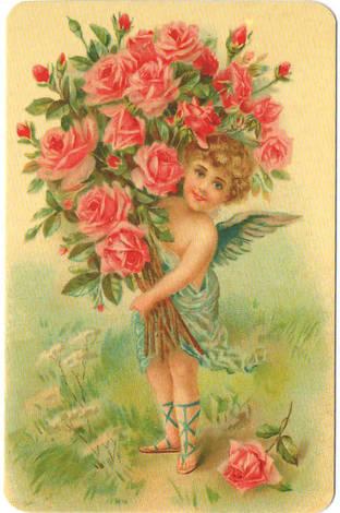 Ангел с букетом роз