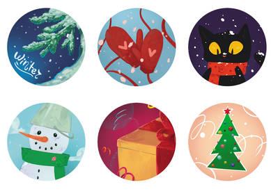 Наклейки «Новогодние шары»